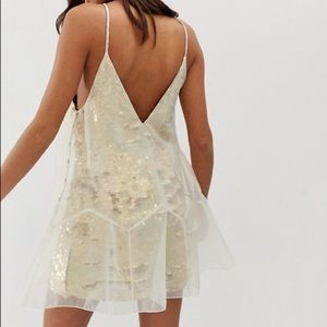 RARE FREE PEOPLE / Sequin + Chiffon Party Dress